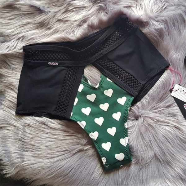 "clothes for pole dance shorts ""Love in Green"" Queen Pole Wear brand"