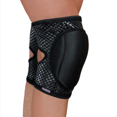 "knee pads for dancing ""Sleek Black Grip"" brand Queen wear"
