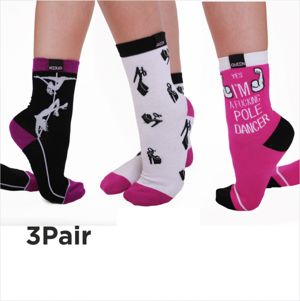 Happy socks for pole dancers Queen Pole Wear