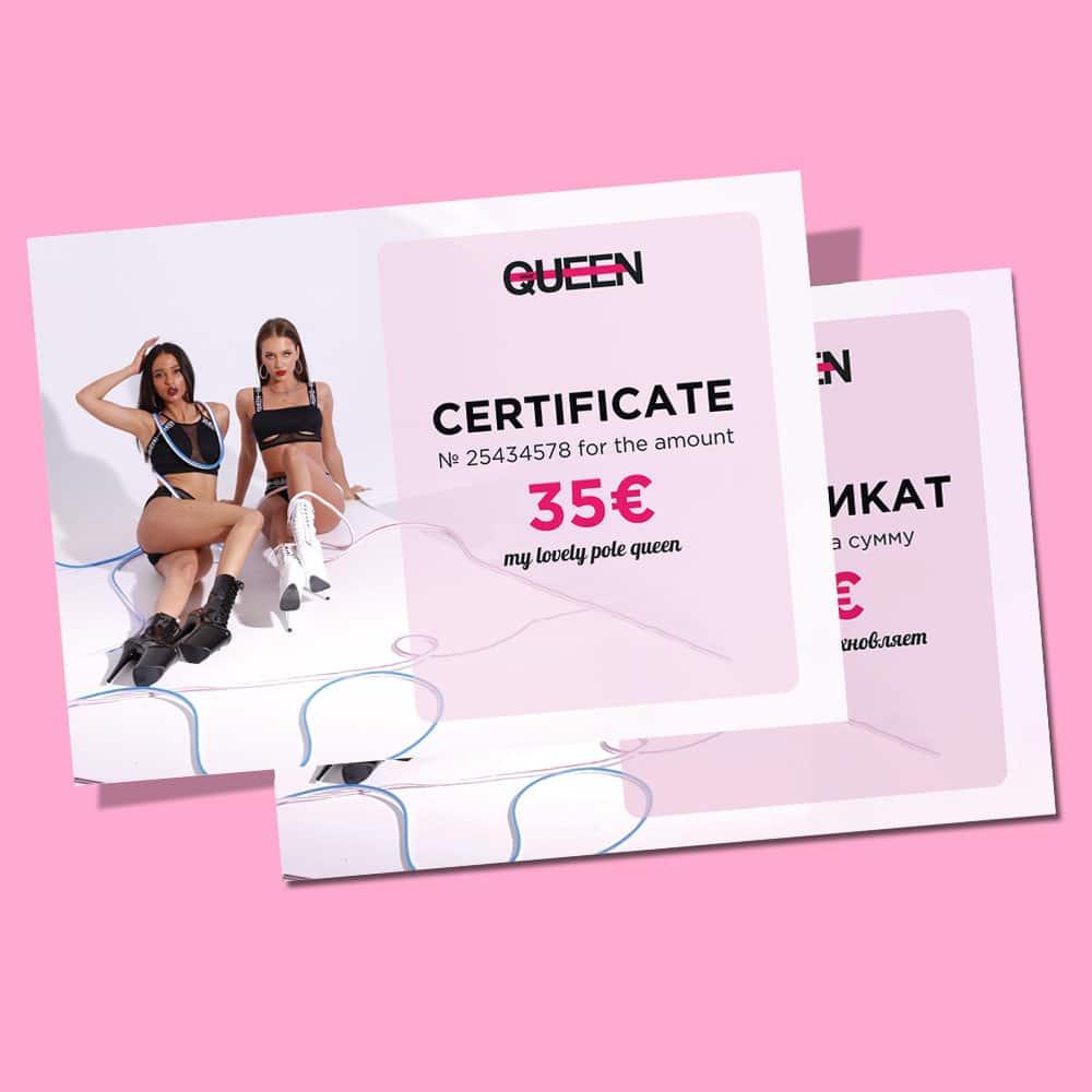 queen pole wear certificate present knee pads 35